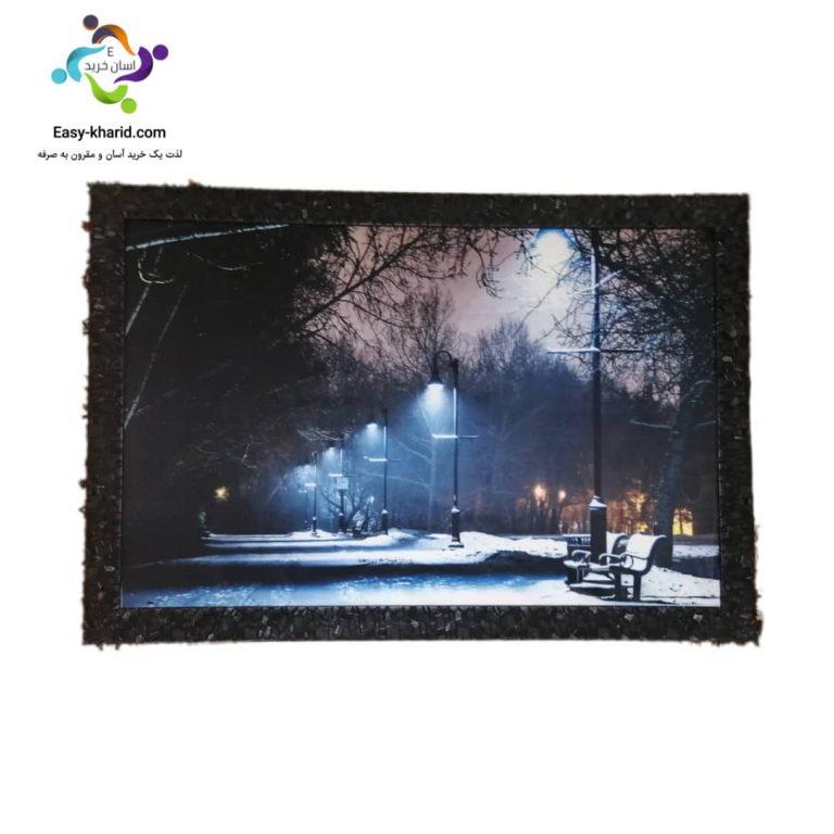 تابلو نوری خیابان برفی و سرد