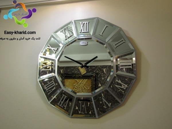 ساعت دیواری آینه ای نقره ای ایستا مدل 2713