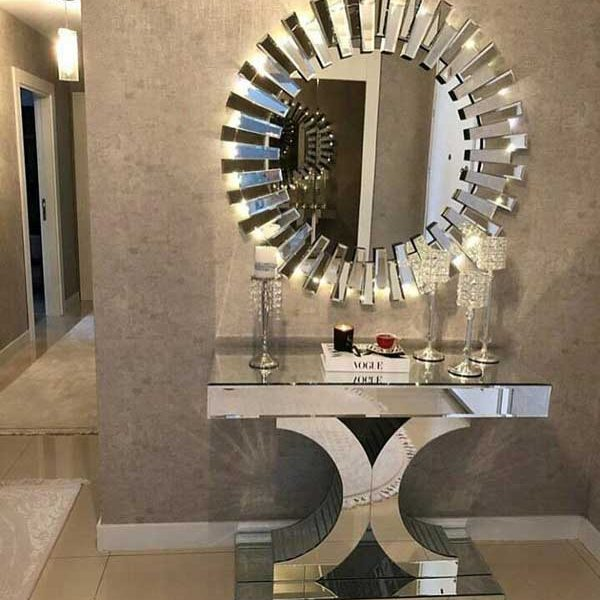 آینه دکوراتیو خورشیدی نقره ای
