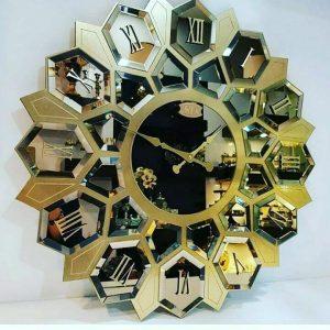 ساعت دیواری آینه ای طلایی