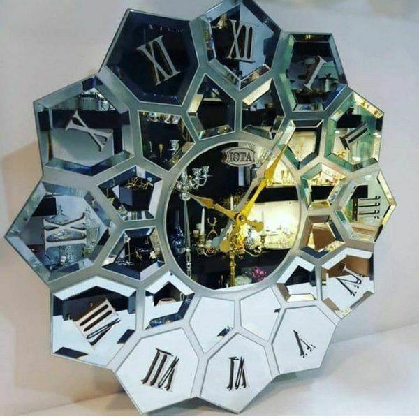 ساعت دیواری آینه ای نقره ای